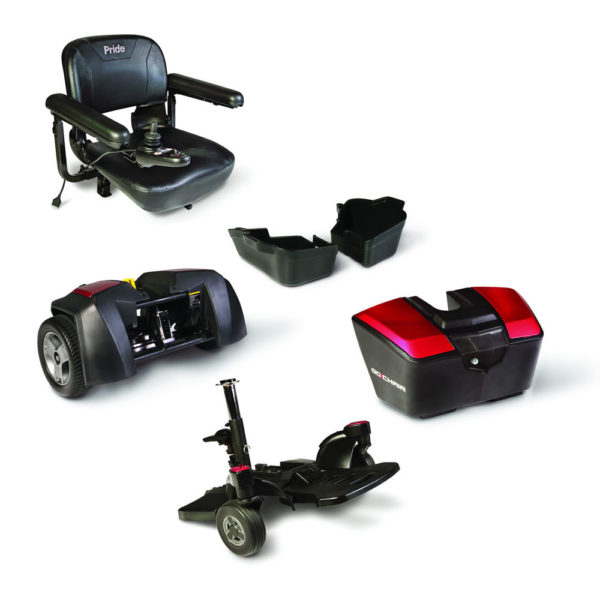 Pride Go Chair power chair in ruby red disassembled