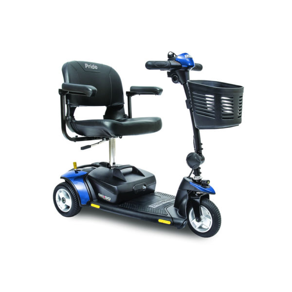 Pride Go-Go Elite Traveller 3-wheel scooter in blue right view