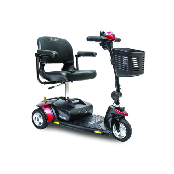 Pride Go-Go Elite Traveller 3-wheel scooter in red right view