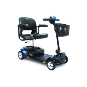 Pride Go-Go Elite Traveller 4-wheel scooter in blue right view
