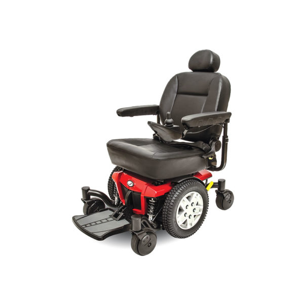 Left side view of Jazzy 600 ES power chair in cardinal red