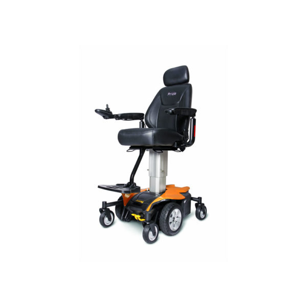 Jazzy Air power chair in amber orange elevated left view