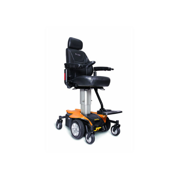 Jazzy Air power chair elevated in amber orange right view