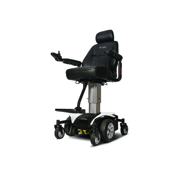 Jazzy Air power chair in pearl white elevated left view