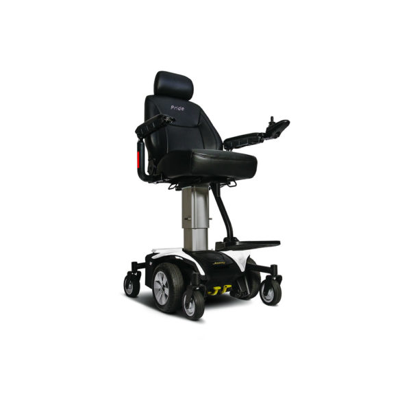 Jazzy Air power chair elevated in pearl white right view