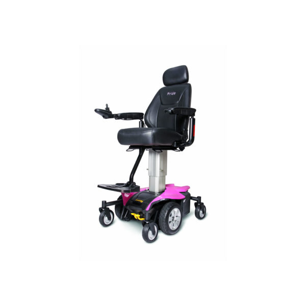 Jazzy Air power chair in rose quartz elevated left view