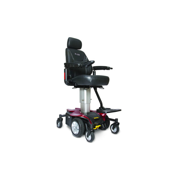 Jazzy Air power chair elevated in ruby red