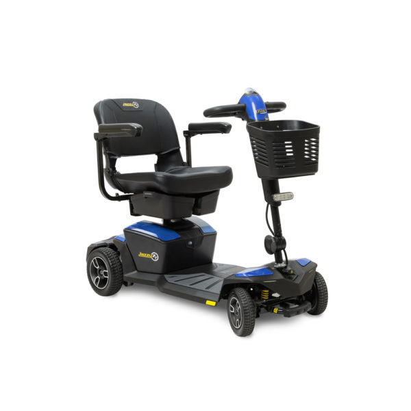 Pride Jazzy Zero Turn 4-wheel scooter in sapphire blue right view