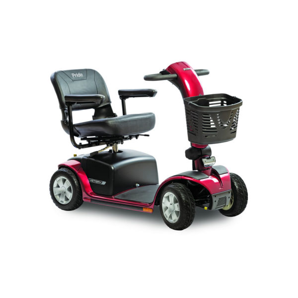 Pride Victory 10 4-wheel scooter in candy apple red right view